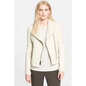 NEW Vince Ribbed Scuba Leather Jacket Off White